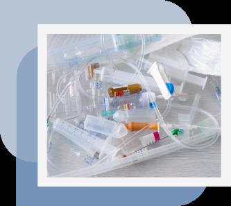 seringas, agulhas e materiais que são considerados produtos para a saúde